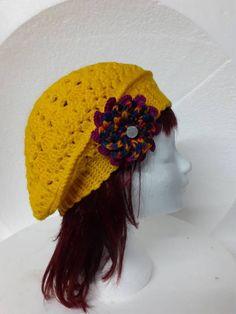 Geel gehaakte dames baret €17,50 Gehaakte dames baret in de kleur geel. Barbie, Crochet Hats, Craft Work, Knitting Hats, Barbie Dolls, Barbie Doll