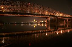 The Missouri river bridge taken at night from the Callaway County side