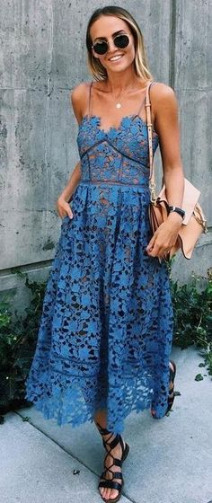 #fall #trending #outfits | Blue Lace Dress