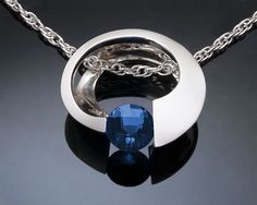 blue topaz pendant - London blue - Argentium silver necklace - deep blue - December birthstone - tension set - modern jewelry - 3394
