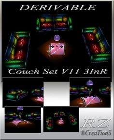 170. Couch Set V 11 3 In R With Poses Mesh Furniture