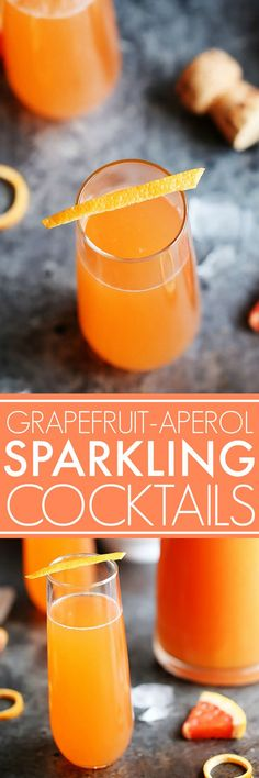 These Grapefruit Aperol Sparkling Cocktails are perfect for brunch or sipping on the patio. Prosecco, grapefruit and aperol combine in this bubbly cocktail.   platingsandpairings.com