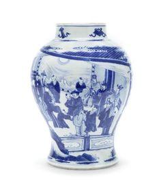 A blue and white baluster jar, Kangxi period (1662-1722)