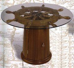 NAUTICAL DECORATIVE CABINET BASE SHIP WHEEL TABLE | eBay