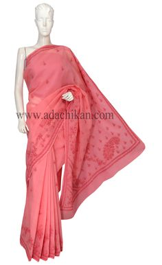 Ada #handembroidered #Peach #Cotton #Lucknowi #Chikan Saree With Blouse -A143603 - #AdaChikan