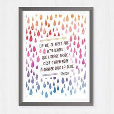 Bonjour, Je vous présente cette affiche mettant en scène une citation de Sénèque : La vie, ce n'est pas d'attendre que l'orage passe, c'est d'apprendre à danser sous la pl - 15031541