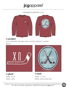 JCG Apparel : Custom Printed Apparel : Chi Omega Hockey Night T-Shirt #xo #chiomega #hockey #philanthropy #greek