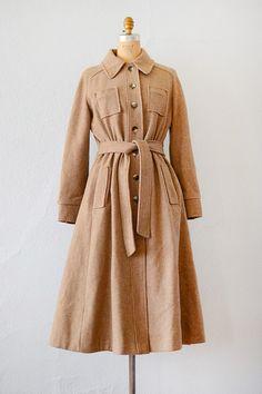 Fair Weather Coat   Dark tan wool princess trench coat, 1970s   Adored Vintage