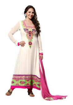 Fabdeal Indian Designer White & Pink Pure Georgette Embroidered Salwar Kameez Fabdeal, http://www.amazon.de/dp/B00IL75QWQ/ref=cm_sw_r_pi_dp_ZSuntb01R1HNT
