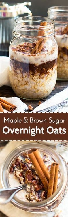 A super simple and easy way to make Maple Brown Sugar and Cinnamon Overnight Oats in a jar Fill your mason jar with rolled oats maple syrup cinnamon and milk and wake up to a quick and healthy glutenfree breakfast. Breakfast Desayunos, Breakfast On The Go, Breakfast Dishes, Breakfast Recipes, Breakfast Ideas, Breakfast Healthy, Breakfast Casserole, Breakfast Smoothies, Mason Jar Breakfast