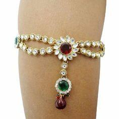 Indian Bridal Wear Gold Tone CZ Arm Bracelet Traditional Wedding Armlet Jewelry Armlet Bracelet Gift IBA. $25.99