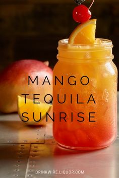 The Mango Tequila Sunrise: One of our favorite classics with a fruity twist! Mixed Drinks With Tequila, Mango Rum Drinks, Mango Cocktail, Fruity Alcohol Drinks, Fruity Mixed Drinks, Fruity Liquor, Orange Alcoholic Drinks, Fruity Shots, Summer Mixed Drinks