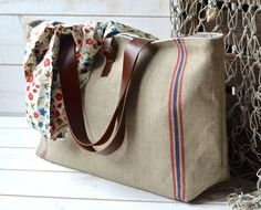 Eco friendly French bag with Leather strap / Market tote with LINEN Blue and Red Stripes
