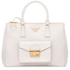 Prada Saffiano Galleria Tote with Pocket ($2,240) ❤ liked on Polyvore featuring bags, handbags, tote bags, accessories, bolsas, white tote bag, expandable tote, pocket tote bag, saffiano leather tote and zip tote