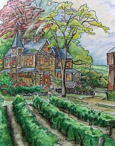 """Colorist Jackie Zoost From Posh Coloring Book , Thomas Kinkade , Painter of Light """" . Done with Prisma pencils."""