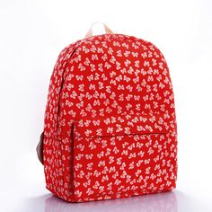 The New European And American Fashion Simple Red Bow Canvas Bag Shoulder Bag Backpack Schoolbag Fashion Female Bag