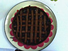 chocolate tart with pear