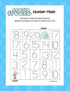 Arctic Kindergarten Common Core Leveled Number Tracing Mazes
