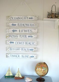 A variation on the other Directional signs / weathered wood signs - I would do this and hang on the back yard fence.  Great alternative to having to sink a post in the ground