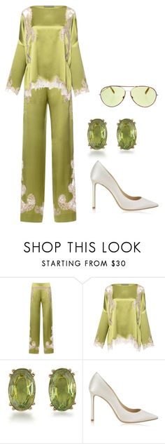 """""""Green tea --- MS"""" by ale-pink5 ❤ liked on Polyvore featuring Alberta Ferretti, Carolee, Jimmy Choo and Cutler and Gross"""