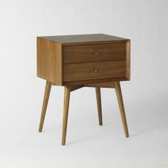 Mid-Century Nightstand :: angled face understated retro details from '50s and '60s furniture silhouettes