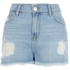 River Island Light ripped high waisted Darcy denim shorts ($23) ❤ liked on Polyvore featuring shorts, bottoms, pants, denim shorts, blue, sale, distressed denim shorts, high-waisted jean shorts, ripped denim shorts and blue shorts