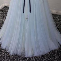 2017 Chic Prom Dress Long Sleeve A-line V-neck Blue Tulle Cheap Evening Dress Prom Dresses 2017, Formal Dresses, Prom Dresses Long With Sleeves, Dress Long, Party Fashion, Fashion Outfits, Cheap Evening Dresses, Silk Taffeta, Stretch Satin