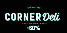 Corner Deli Font: Corner Deli is a layered script & sans pack inspired by American commercial sign culture. Corner Deli has three base fonts and four. Commercial Signs, Brush Script, Font Family, Deli, Fonts, Corner, Branding, San, Writing