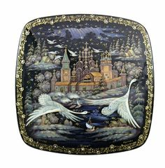 Amazon.com: Kholui Russian Lacquer Box #3659 KIZHI (SWANS FLYING NORTH): Everything Else