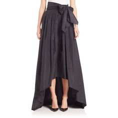 Escada Hi-Lo Taffeta Ball Gown Skirt ($1,710) ❤ liked on Polyvore featuring skirts, apparel & accessories, black, long skirts, bow skirts, short front long back skirt, long taffeta skirt and long high low skirt