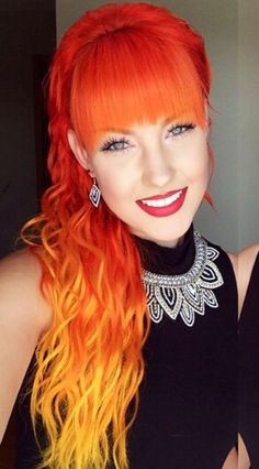 Multi-colored hair don't care! Images and Video Tutorials! Orange and yellow ombre dip dyed hair Red Hair Color, Cool Hair Color, Hair Colors, Color Red, Hair Orange, Orange Yellow, Orange Ombre, Yellow Hair, Blue Green