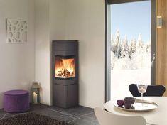 QUADRO 2 - Wood heating stove / corner / metal / contemporary by Nordpeis Corner Wood Stove, Corner Gas Fireplace, Stove Fireplace, Modern Fireplace, Fireplace Design, Modern Wood Burning Stoves, Indoor Outdoor Fireplaces, Small House Decorating, Wood Burner