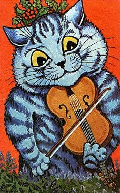 """louis wain…….""""HEY DIDDLE DIDDLE - THE CAT AND HIS FIDDLE ----- THE COW JUMPED OVER THE MOON""""…….THAT WAS ONE BIG LEAP FOR PUSSYDOM, YA BET YOUR SWEET FIDDLEDOM………..ccp"""