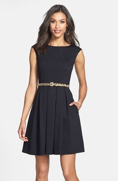 Eliza J Cutout Back Belted Ponte Knit Fit & Flare Dress (Online Only) available at #Nordstrom