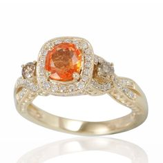 Suzy Levian 14K Yellow Gold Orange Sapphire and Diamond Ring (Size ) Women's