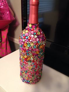 Bedazzled wine bottle  https://www.etsy.com/shop/HandcraftedGallery