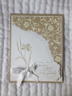 Stampin' Up Sympathy Card with flowers and ribbon by OCDcardLADY