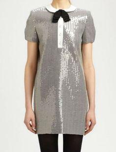 Sequined Peter Pan Collar Dress - $3950 - Saint Laurent