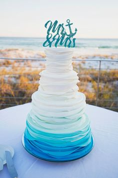 Ombre Beach Wedding Cake