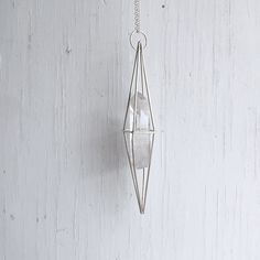 Large Sterling Silver Caged Quartz Crystal Necklace Metaphysical Pendulum