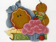 Gingerbread with Cupcake Handpainted Home Decor by ToleTreasures,