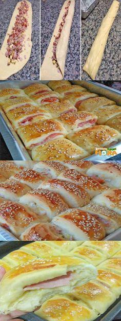Receita de Enroladinho de Presunto e Queijo Fun Baking Recipes, Chef Recipes, Snack Recipes, Cooking Recipes, Mini Pizza, Portuguese Recipes, Snacks, Quick Meals, Cooking Time