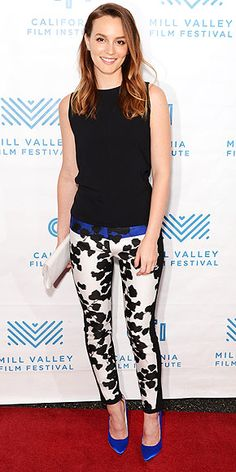 LEIGHTON MEESTER The star elevates her casual cropped skinnies and a sleeveless shell (both Narciso Rodriguez) via the bright blue accents at her waist and feet (courtesy Brian Atwood heels) at the Mill Valley Film Festival premiere of Like Sunday, Like Rain in Mill Valley, Calif.