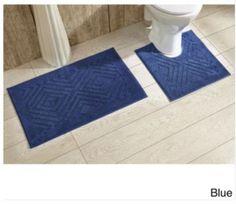 Blue Cotton Chevron Tufted Bathroom Rug Decor with Non Skid Backing (Set of 2) #BathRug #BathMat #ChevronMat #SoftMat #DoorMat #Mat #Rug #SkidResistant #NonSlip #Home #Kitchen #Bathroom #Bath #MatSet