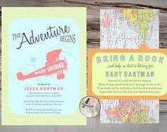 Adventure Shower Invitation Suite { Custom Retro Modern Vintage Journey Travel Chartreuse Salmon Turquoise Bring a Book Registry Maps }