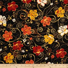 Saffron Ground Large Floral Black from @fabricdotcom  From Exclusively Quilters, this cotton print is perfect for quilting, apparel and home decor accents.  Colors include black, off white, brown, grey, yellow and shades of orange.