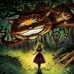 Signed print from an Illustration by Chet Phillips of Alice in Wonderland and the Cheshire Cat.