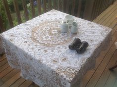 Vintage Round Shabby Chic French Lace Tablecloth . Ivory and taupe.  Diameter 52 inches (128 cm) by FleursEnFrance on Etsy