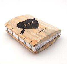 Custom Natural Wood Wedding Guest Book