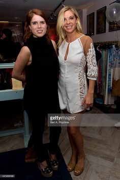 Princess Eugenie and Chelsy Davy pose for photographs at the launch of Chelsy Davy's new jewellery range at 'AYA' at Baar and Bass on June 21, 2016 in London, England.